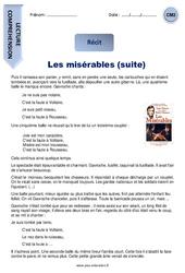 Les misérables (suite) – CM2 – Récit – Lecture
