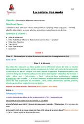 La nature des mots – CM2 – Fiche de préparation