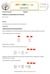 Additions et soustractions de fractions - Algèbre - Montessori - Atelier 10