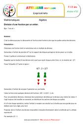 Division d'une fraction par un entier – Algèbre – Montessori – Atelier 12