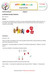 La division de deux fractions – Algèbre – Montessori – Atelier 15