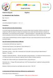 Le classement des fractions – Algèbre – Montessori – Atelier 16