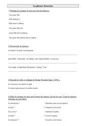 La phrase – Ce2 – Exercices de grammaire