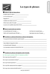 Exercices, révisions sur les types de phrases au Cm1 avec les corrections