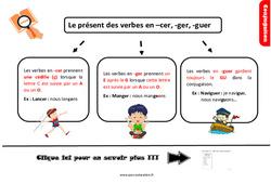 Leçon, trace écrite sur le présent des verbes en –cer, -guer, -ger au Cm1