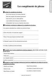 Exercices, révisions sur les compléments de verbe, compléments de phrase au Cm1 avec les corrections