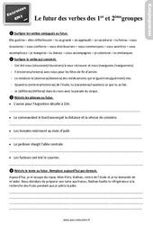 Exercices, révisions sur le futur des verbes des 1er et 2ème groupes au Cm1 avec les corrections
