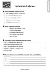 Exercices, révisions sur les formes de phrases au Cm2 avec les corrections