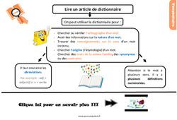 Leçon, trace écrite sur lire un article de dictionnaire au Cm2