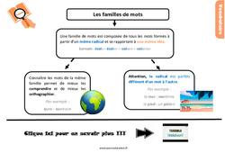 Leçon, trace écrite sur les familles de mots au Cm2