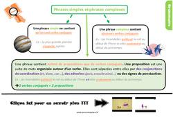 Leçon, trace écrite sur les phrases simples et phrases complexes au Cm2