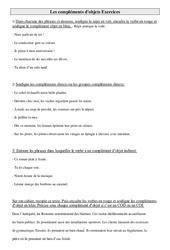 Compléments d'objet – COD – COI – Ce2 – Exercices