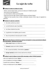 Exercices, révisions sur le sujet du verbe au Cm2 avec les corrections