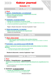 Semaine 13 - Cm1 - Cahier journal - PES - Stagiaires, jeunes profs...