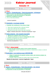 Semaine 15 - Cm1 - Cahier journal - PES - Stagiaires, jeunes profs...