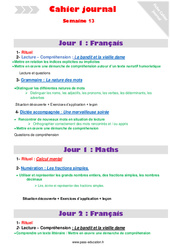 Semaine 13 – Cm2 – Cahier journal – PES – Stagiaires, jeunes profs…