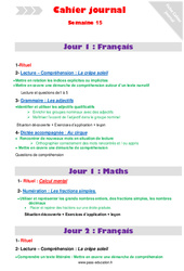 Semaine 15 – Cm2 – Cahier journal – PES – Stagiaires, jeunes profs…