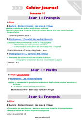 Semaine 16 – Cm2 – Cahier journal – PES – Stagiaires, jeunes profs…