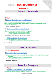 Semaine 18 – Cm2 – Cahier journal – PES – Stagiaires, jeunes profs…
