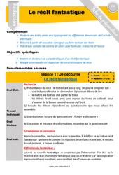 Le récit fantastique – CM1 – CM2 – Rédaction – Production d'écrit – Fiche de préparation