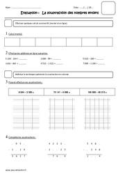 Soustraction des nombres entiers - Cm2 - Evaluation