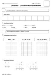 Addition des nombres entiers - Cm2 - Evaluation