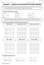 Addition et la soustraction des nombres décimaux - Cm2 - Evaluation