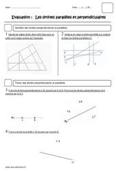 Droites perpendiculaires et parallèles - Cm2 - Evaluation