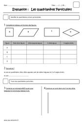 Quadrilatères particuliers – Cm2 – Evaluation