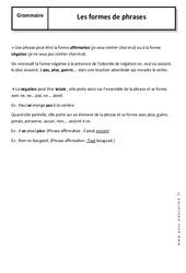 Formes de phrases – 5ème – Cours