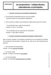 Propositions – 5ème – Cours –  Indépendantes, subordonnées et principales