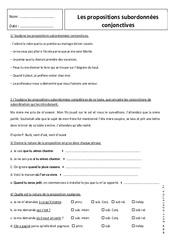 Propositions subordonnées conjonctives – 5ème – Révisions