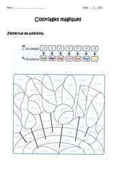Additionner de 13 à 19 – CP – Coloriage magique à imprimer