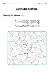 Dénombrer des collections d'objets de 1 à 5 – CP – Coloriage magique à imprimer