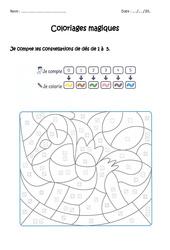 Dénombrer des constellations de 1 à 5 – CP – Coloriage magique à imprimer