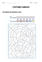Compléter des additions à trous jusqu'à 9 – Cp – Coloriage magique à imprimer