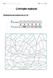 Additionner des nombres de 10 à 79 – Cp – Ce1 – Coloriage magique à imprimer