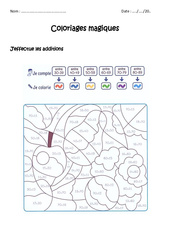 Additionner des nombres de 0 à 100 – Cp – Ce1 – Coloriage magique à imprimer