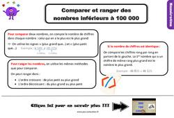 Leçon, trace écrite sur comparer et ranger des nombres inférieurs à 100 000 au Cm1