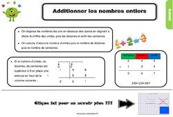 Leçon, trace écrite sur additionner les nombres entiers au Cm1