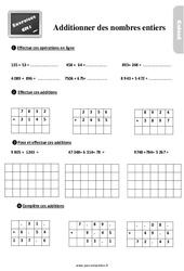 Exercices, révisions sur additionner les nombres entiers au Cm1 avec les corrections