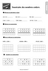 Exercices, révisions sur comment soustraire les nombres entiers au Cm1 avec les corrections