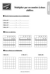 Exercices, révisions sur la multiplication par un nombre à deux chiffres au Cm1 avec les corrections