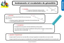 Leçon, trace écrite sur l'instrument et le vocabulaire de géométrie au Cm1