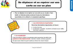 Leçon, trace écrite sur se déplacer et se repérer sur une carte ou sur un plan au Cm1
