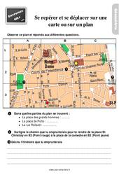 Exercices, révisions sur se déplacer et se repérer sur une carte ou sur un plan au Cm1 avec les corrections