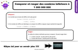 Leçon, trace écrite sur comparer et ranger des nombres inférieurs à 1 000 000 000 au Cm1