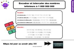 Leçon, trace écrite sur encadrer et intercaler des nombres inférieurs à 1 000 000 000 au Cm1