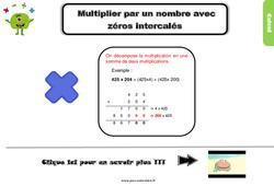 Leçon, trace écrite sur multiplier par un nombre avec zéros intercalés au Cm1
