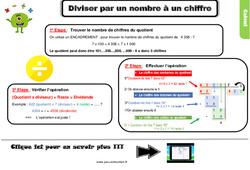 Leçon, trace écrite sur la division par un nombre à un chiffre au Cm1